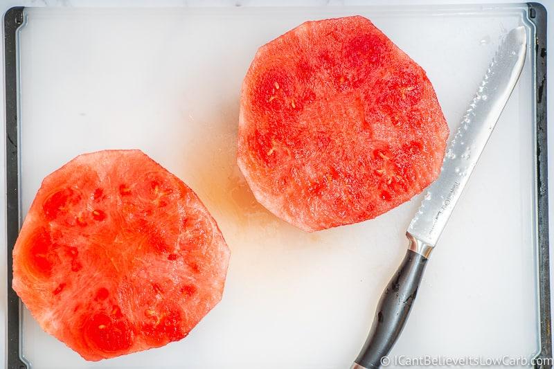 Peeled Watermelon cut in half