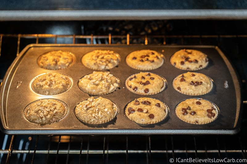 Low Carb Keto Banana Muffins baking in the oven