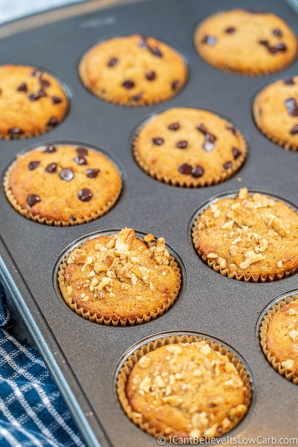 Muffin pan filled with Keto Banana Muffins