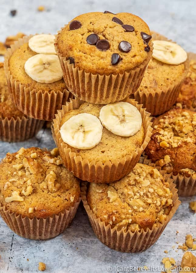Easy Low Carb Keto Banana Muffins with almond flour