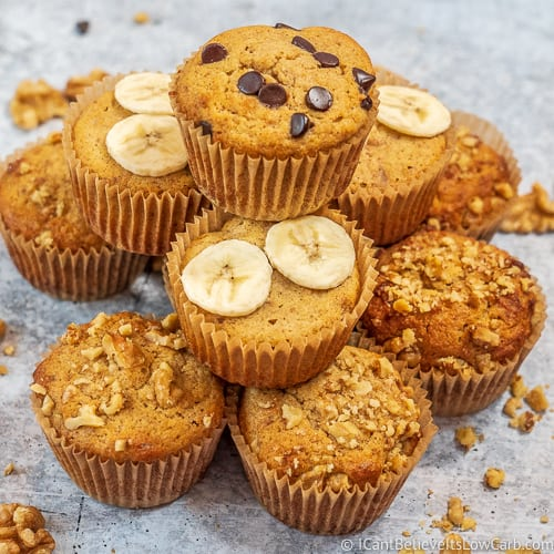 Keto Banana Muffins stacked on top of each other