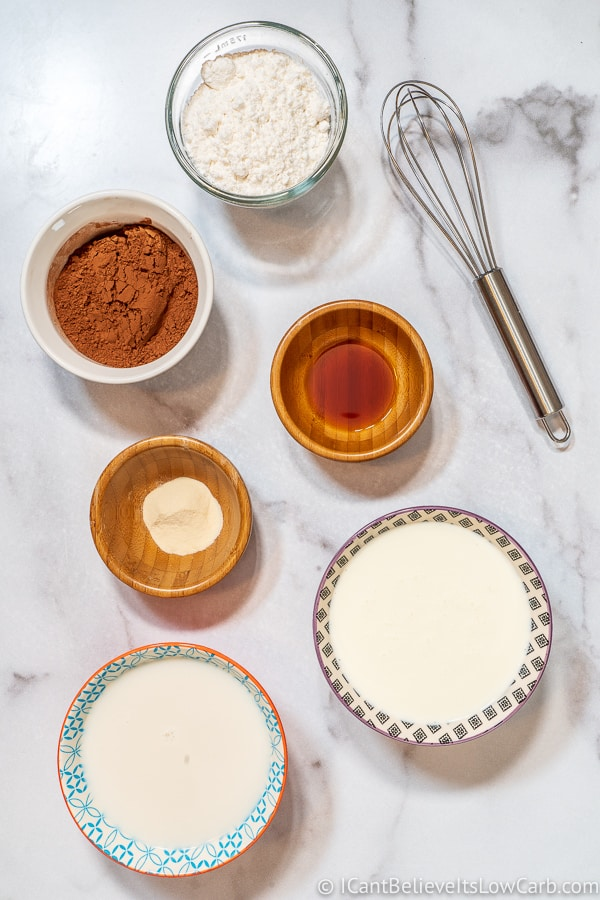 Keto Chocolate Pudding ingredients