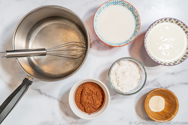 Ingredients for Sugar Free Chocolate Pudding