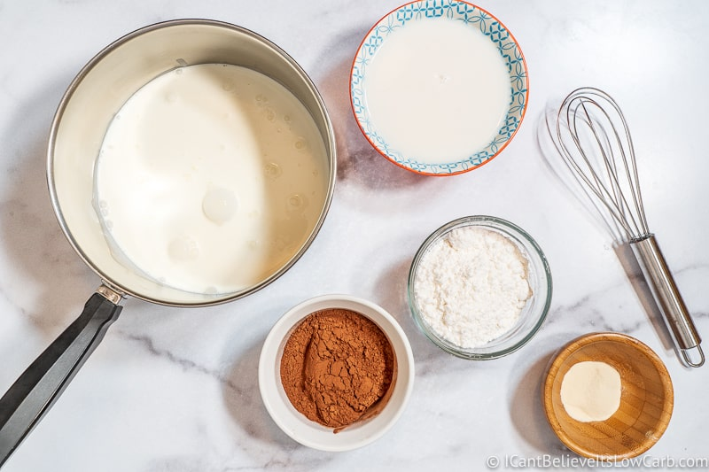 Adding heavy cream to pan for Keto Chocolate Pudding