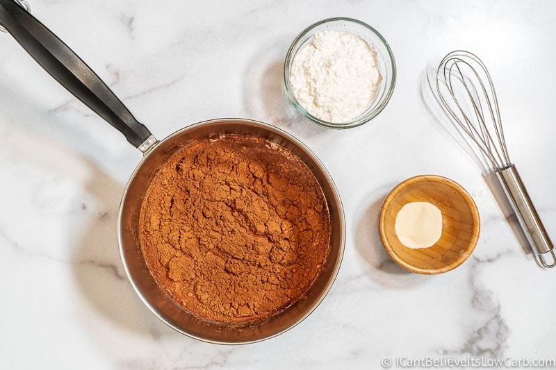 Adding cocoa powder