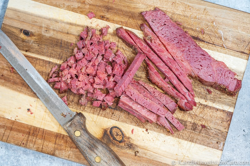 Chopping Corned Beef into cubes