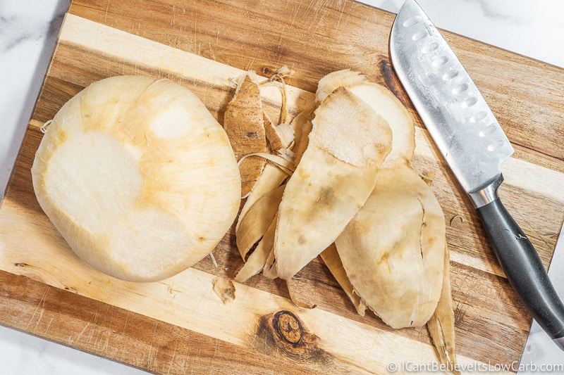 jicama with skin peeled