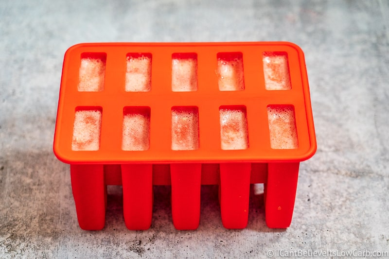 Popsicle mold filled with sugar free popsicles