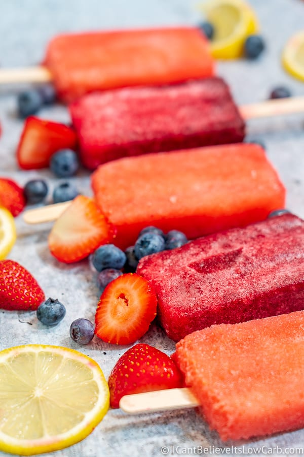 Keto Popsicles with fruit