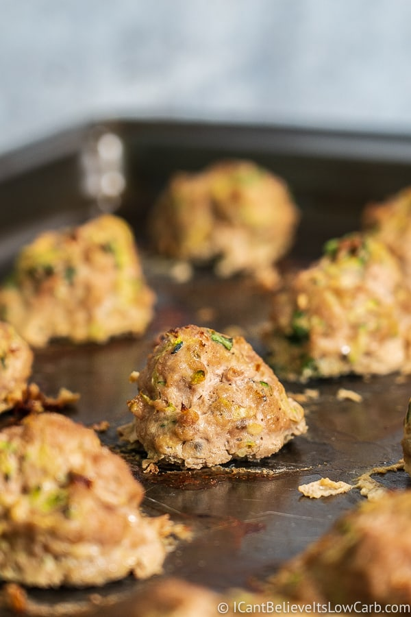 Turkey Zucchini Meatballs in the oven