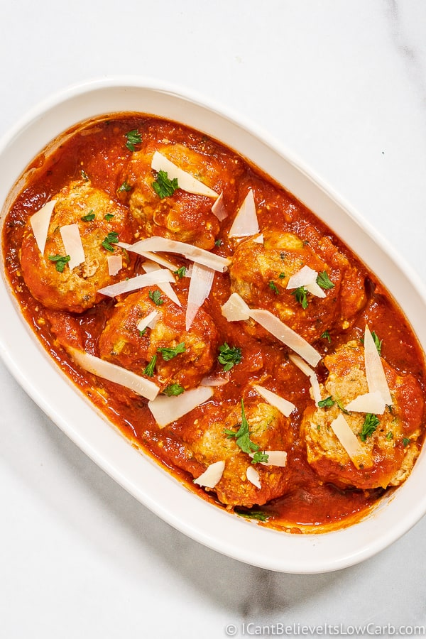 Bowl of Turkey Meatballs with tomato sauce