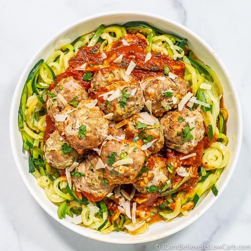 Turkey Zucchini Meatballs in the oven feature