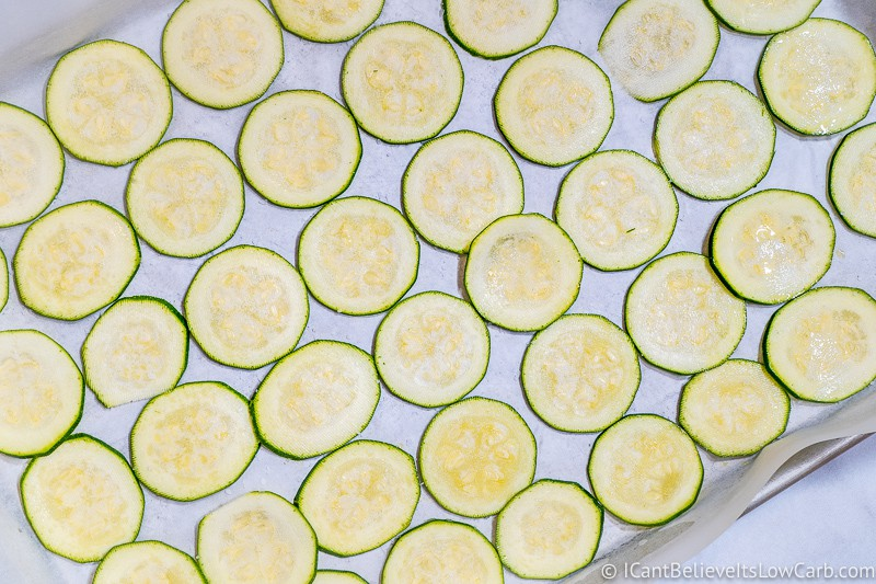 Zucchini Chips ready to bake in the oven