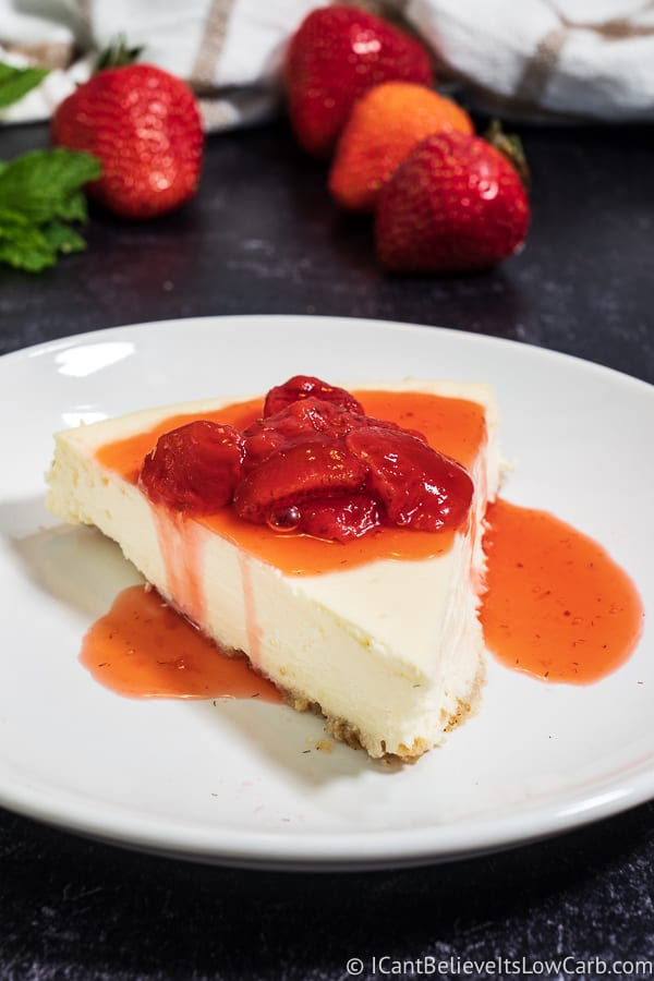 Low Carb Cheesecake Recipe with strawberries