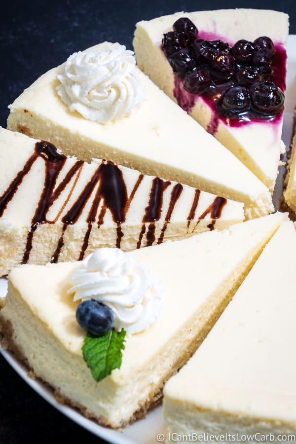 Many slices of Keto Cheesecake