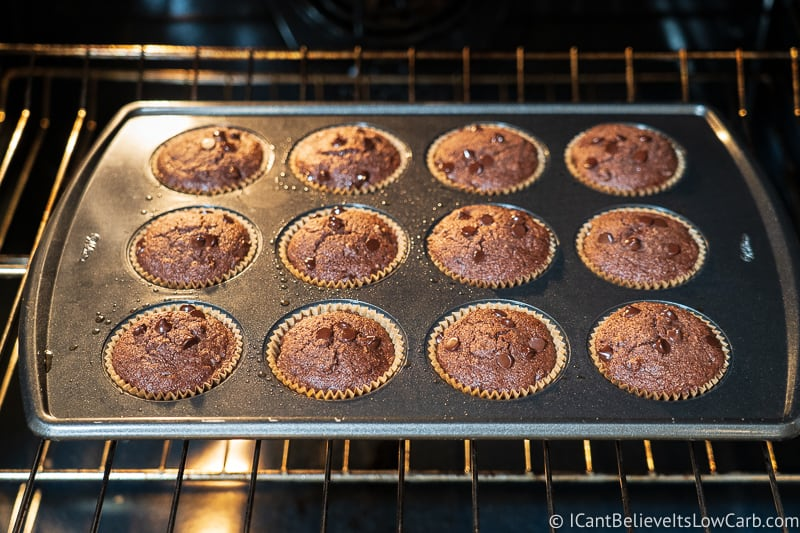 Keto Chocolate Muffins baking in the oven