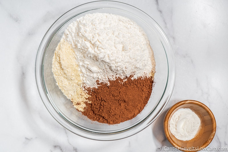 adding coconut flour to dry ingredients