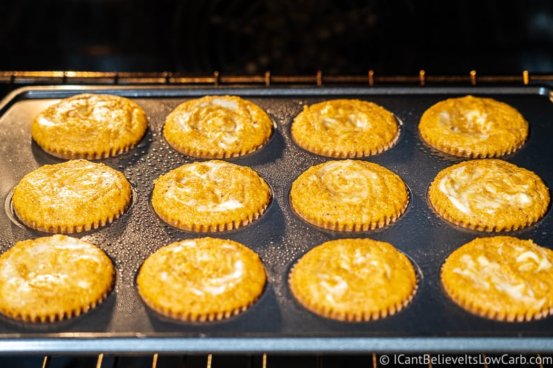 Keto Pumpkin Muffins baking in the oven