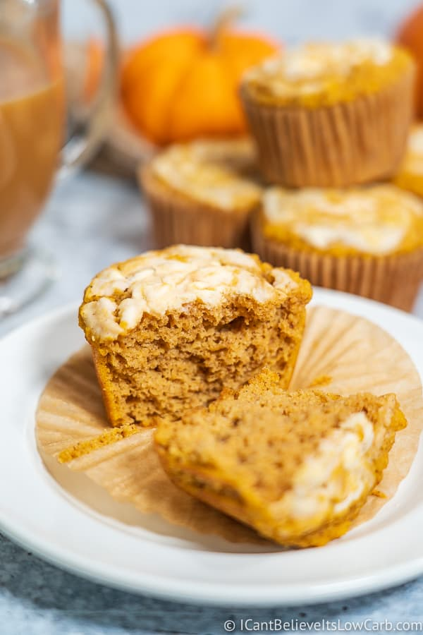 Keto Pumpkin Muffins with cream cheese swirl