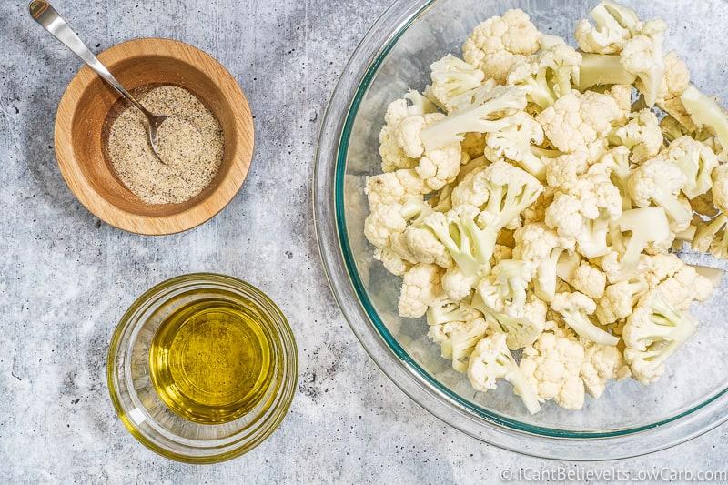 Roasted Cauliflower ingredients in bowls