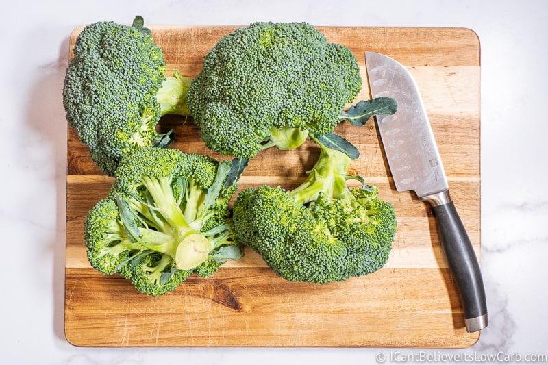 Broccoli on a cutting board