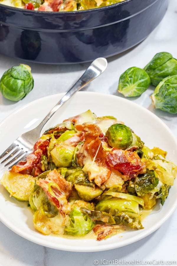 Keto Brussel Sprouts on a plate with a fork
