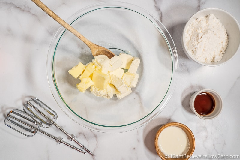 adding butter and cream cheese together