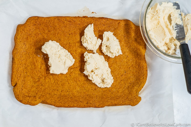 Low Carb cream cheese frosting on Keto Pumpkin Bars