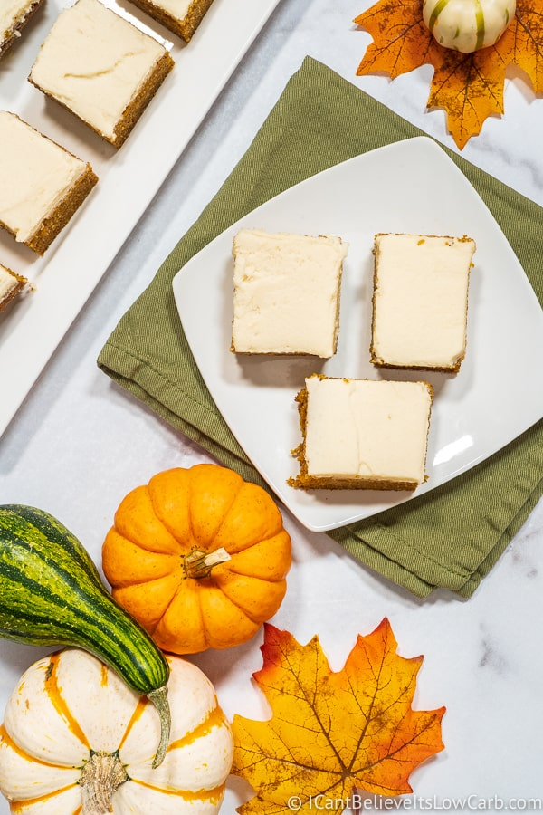 Keto Pumpkin Bar Recipe with Cream Cheese Frosting