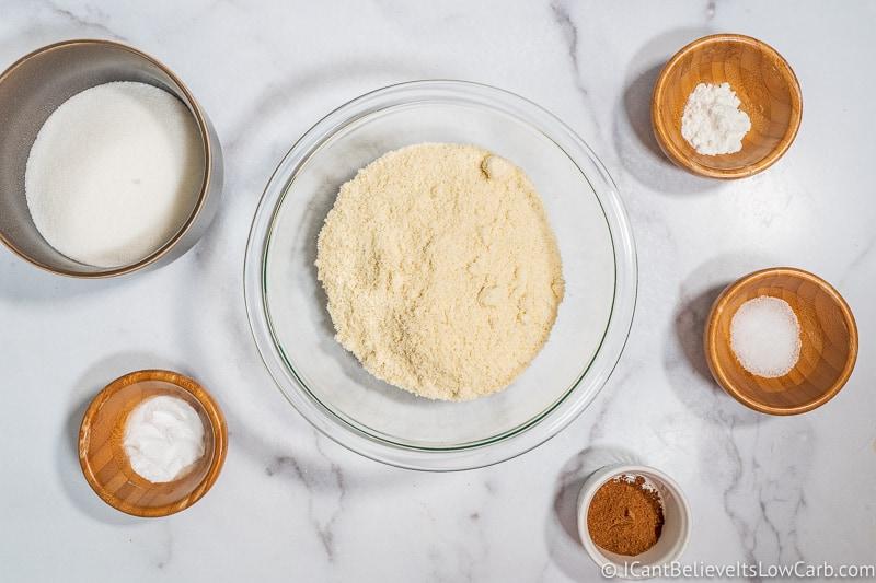 Dry ingredients for Keto Pumpkin Bars