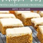 Easy Keto Pumpkin Bars cream cheese frosting Pinterest