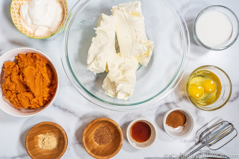 Keto Pumpkin Cheesecake filling ingredients