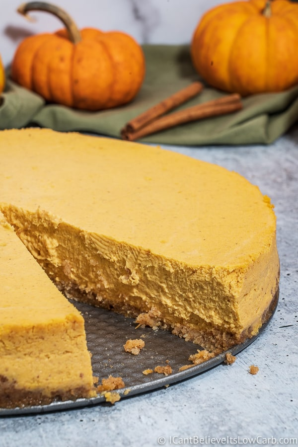 A slice taken out of Low Carb Pumpkin Cheesecake