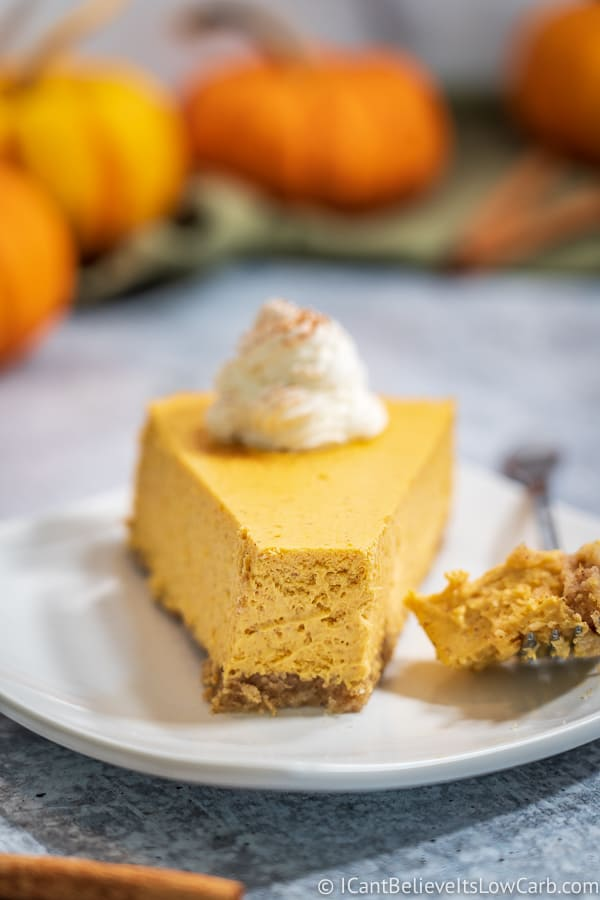 A slice of Keto Pumpkin Cheesecake