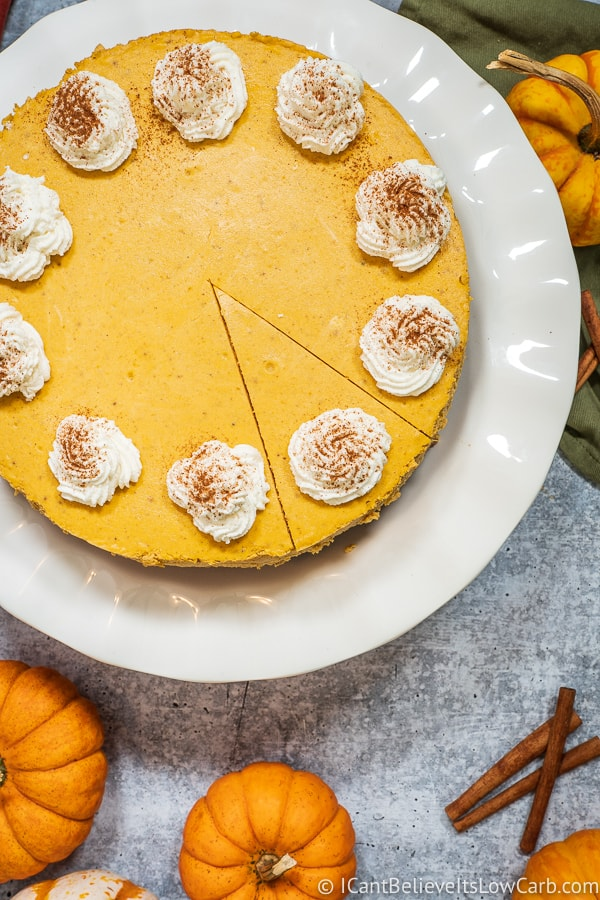 Slice of Keto Pumpkin Cheesecake