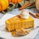 Keto Pumpkin Cheesecake with caramel sauce