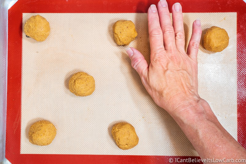 flattening Keto Pumpkin Cookies