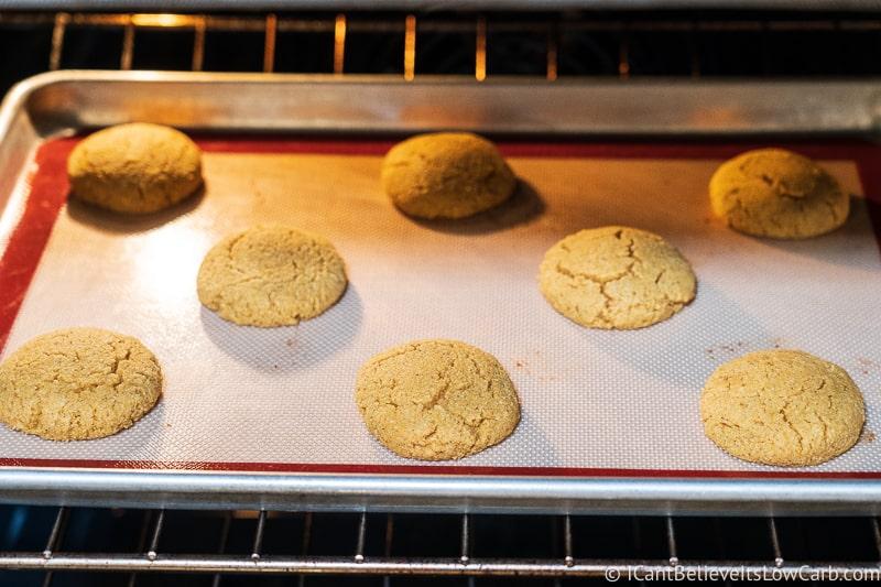 Keto Pumpkin Cookies baking in the oven