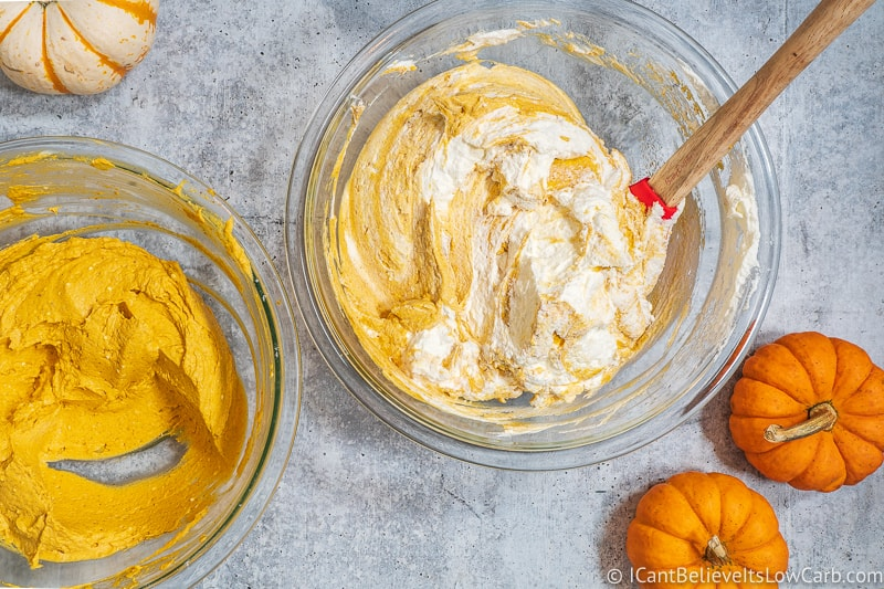 Mixing in whipped cream into Pumpkin Mousse