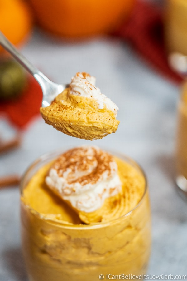 Spoonful of the best low carb Pumpkin Mousse