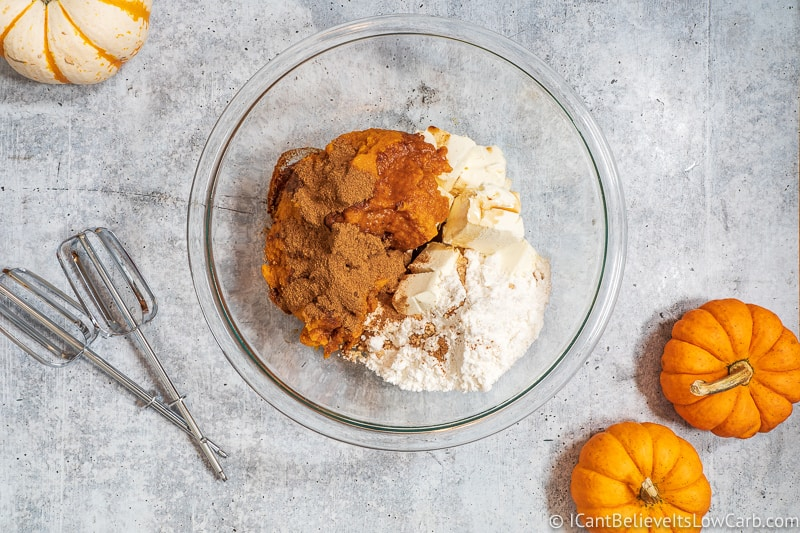 All ingredients for Pumpkin Mousse in bowl