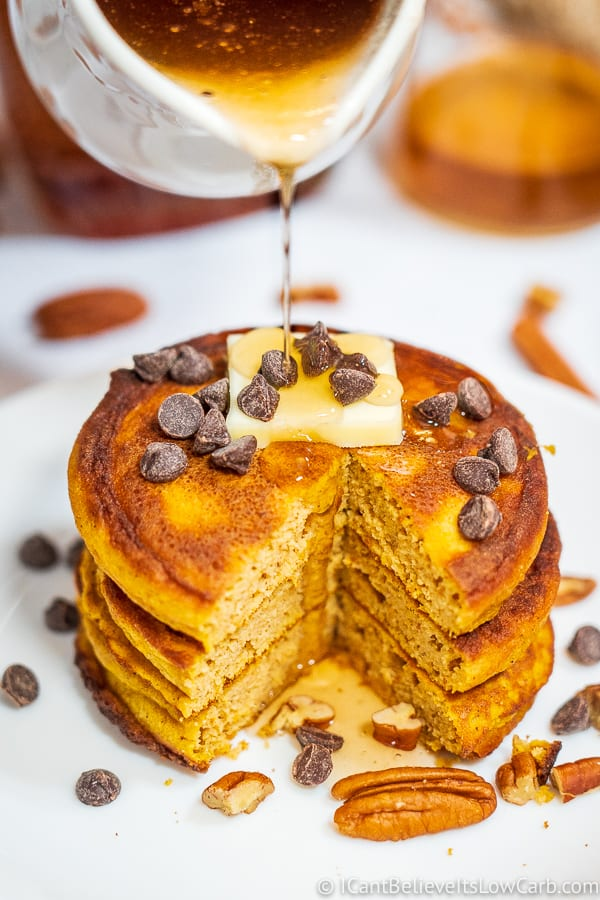 Keto Pumpkin Pancakes with chocolate chips and syrup