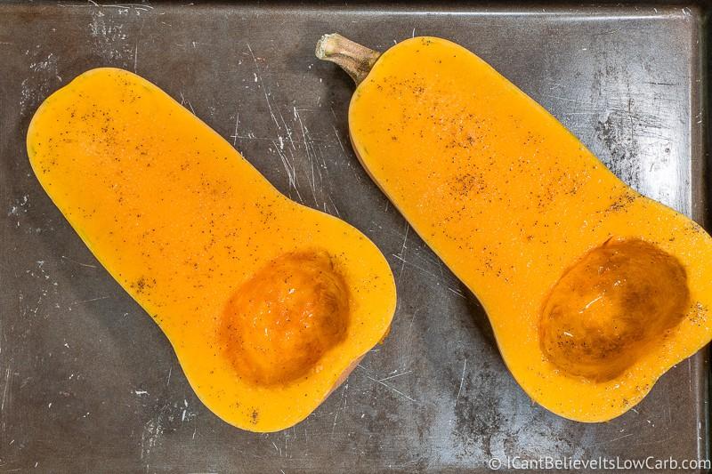Seasoned Butternut Squash before baking