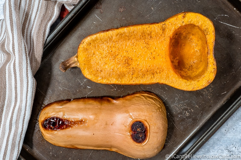 Roasted Butternut Squash in halves