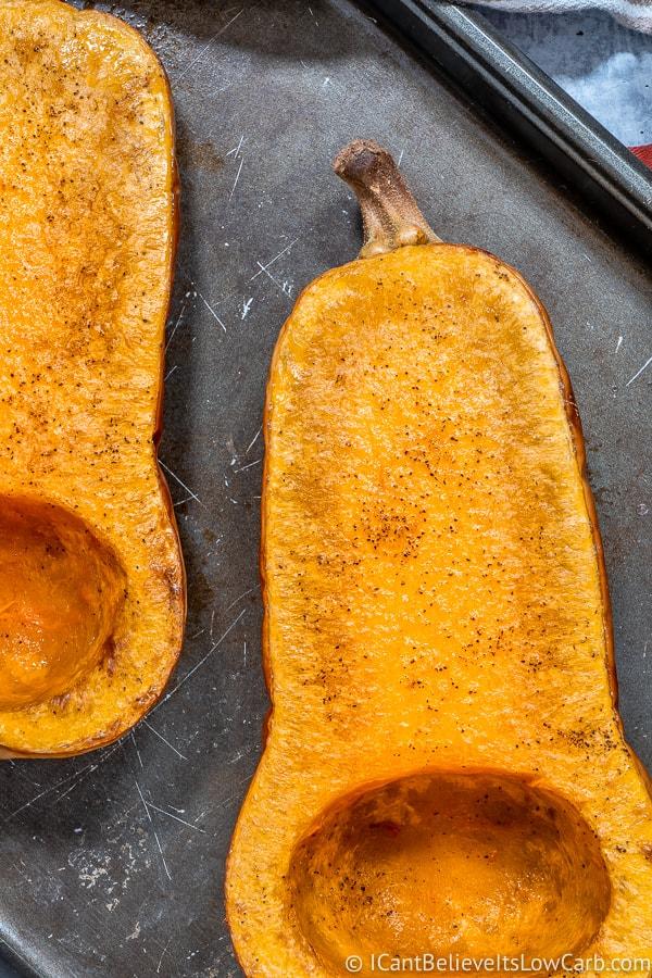 roasted Butternut Squash in half