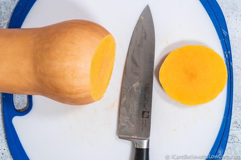 Cutting ends off Butternut Squash
