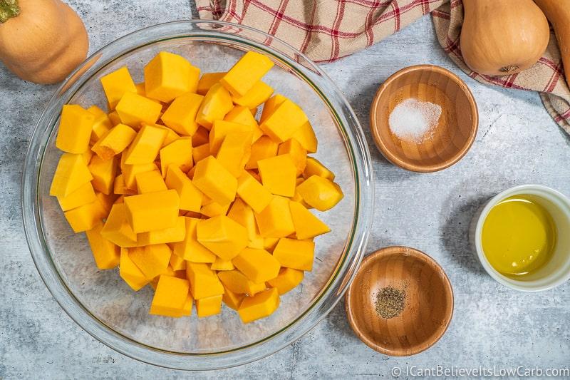 Bowl of Cut Butternut Squash in cubes