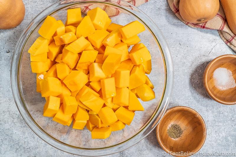 Cubed Butternut Squash in a bowl