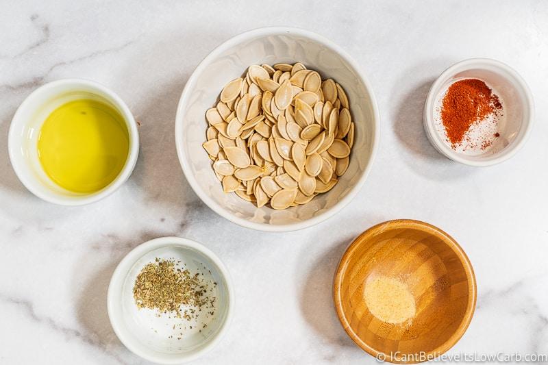 Ingredients for Roasted Pumpkin Seeds with Italian seasonings