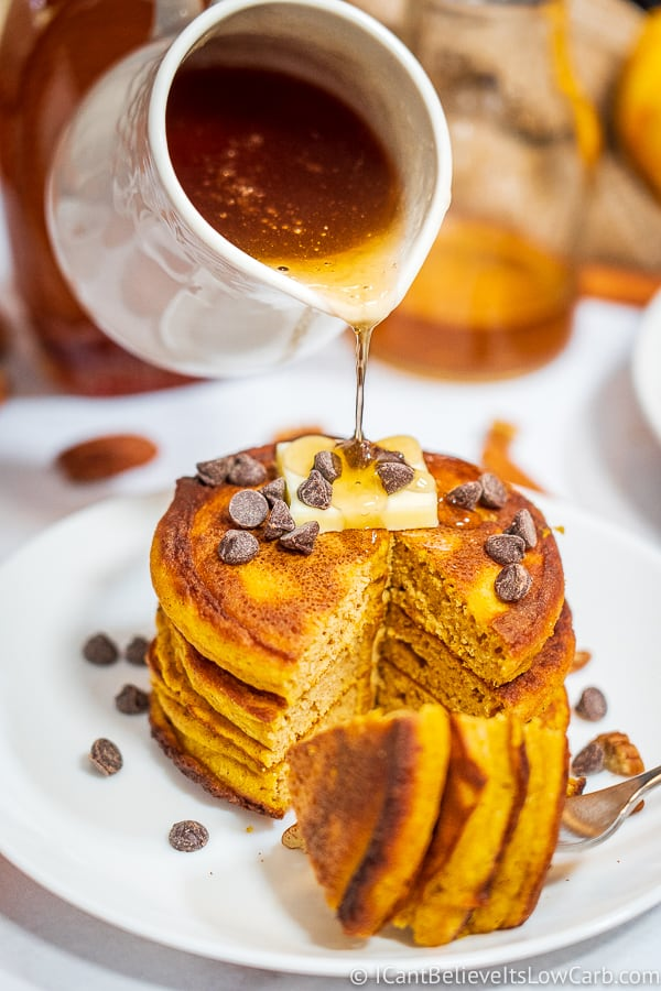 Low Carb Maple Syrup poured on pancakes